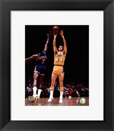 Framed Jerry West 1975 Action Print