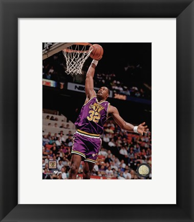 Framed Karl Malone 1990 Action Print