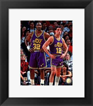 Framed Karl Malone & John Stockton 1994 Action Print