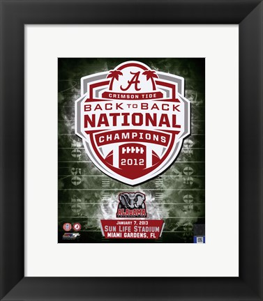 Framed University of Alabama Crimson Tide 2013 BCS Back-To-Back National Champions Team Logo Print
