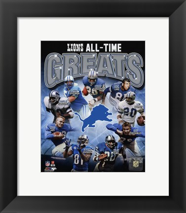 Framed Detroit Lions All Time Greats Composite Print