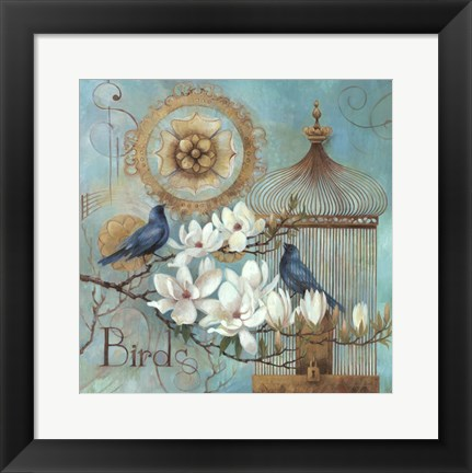 Framed Blue Birds and Magnolia Print
