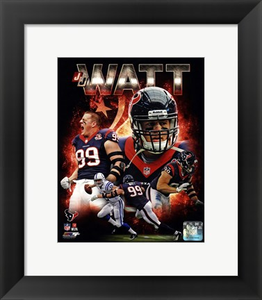 Framed J.J. Watt 2013 Portrait Plus Print