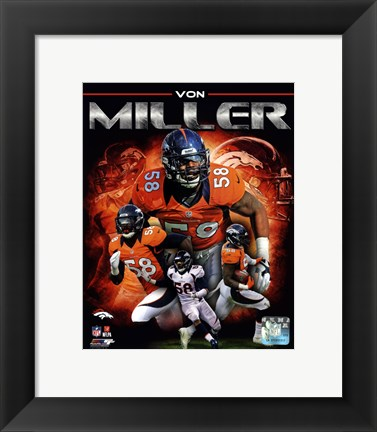 Framed Von Miller 2013 Portrait Plus Print