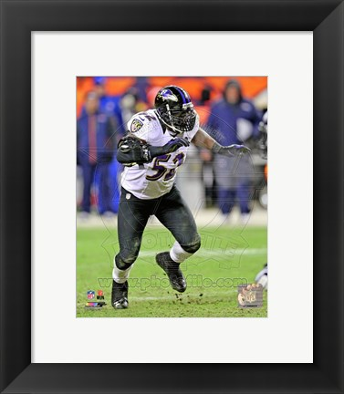 Framed Ray Lewis 2012 AFC Divisional Playoff Game Action Print