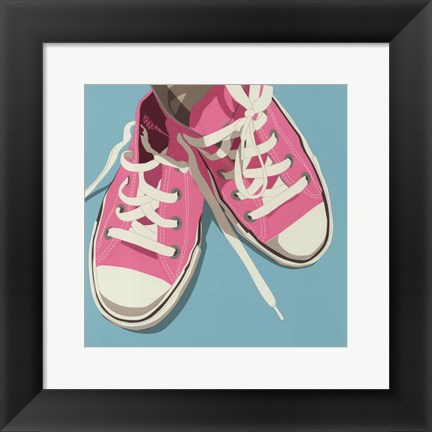 Framed Lowtops (pink on blue) Print