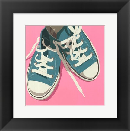 Framed Lowtops (blue on pink) Print