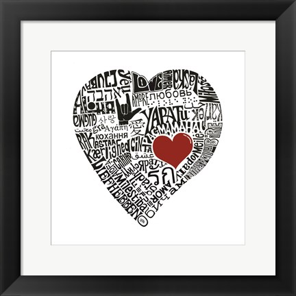 Framed Love in 44 Languages Print
