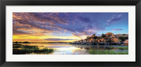 Framed Willow Lake Spring Sunset Print