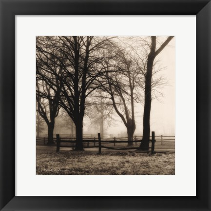 Framed Woods with Fence Print