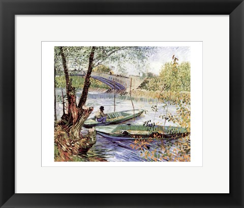 Framed Fisherman in His Boat Print