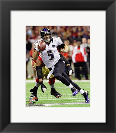 Framed Joe Flacco Sprinting in Super Bowl XLVII Print