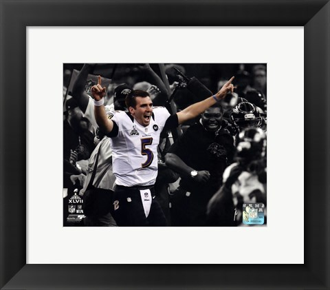 Framed Joe Flacco Super Bowl XLVII Spotlight Celebration Print