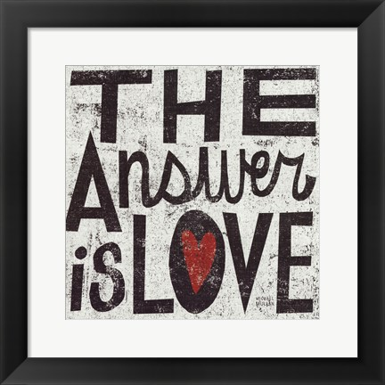 Framed Answer Is Love Grunge Print
