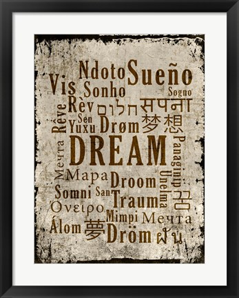 Framed Dream in Multiple Languages Print