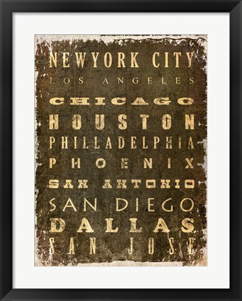 Framed US Cities Print