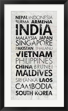 Framed Asia Countries I Print