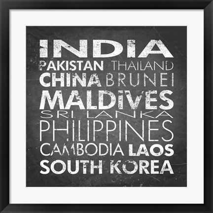 Framed Asia Countries Print