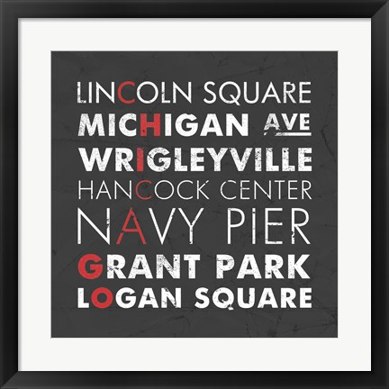 Framed Chicago Cities Print