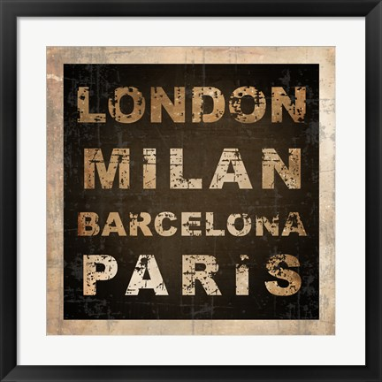 Framed European Cities Square I Print