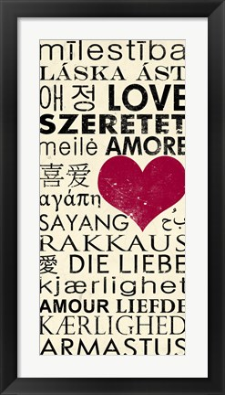 Framed Love Around the World with Red Boarder Print