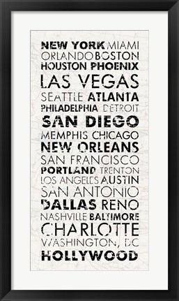 Framed USA Cities White Print