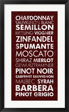 Framed Wine List III Print