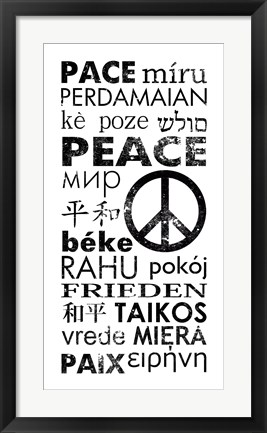 Framed Peace in Different Languages Print