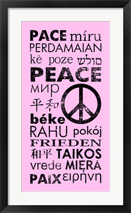 Framed Pink Peace Languages Print