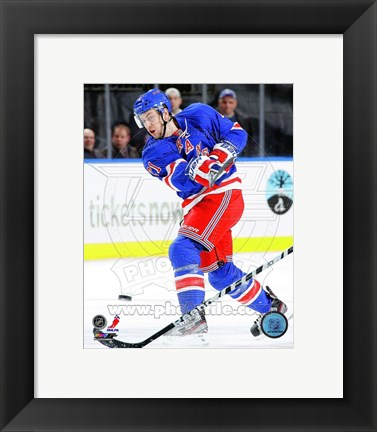 Framed Derek Stepan 2012-13 with the Puck Print