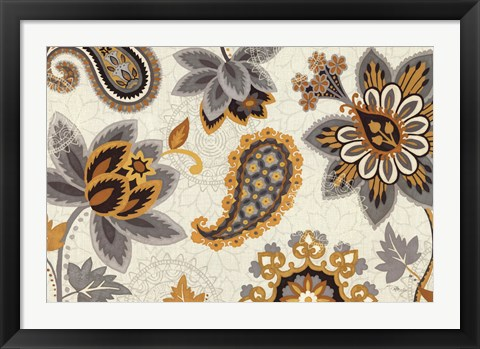 Framed Decorative Nature I Yellow Gray Cream Print