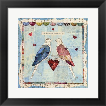 Framed Love Birds Square Print