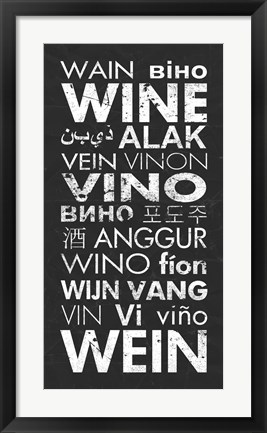 Framed Wine in Different Languages Print