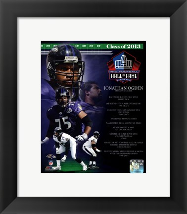 Framed Jonathan Ogden NFL Hall Of Fame Class Of 2013 Print