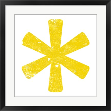 Framed Yellow Asterisk Print