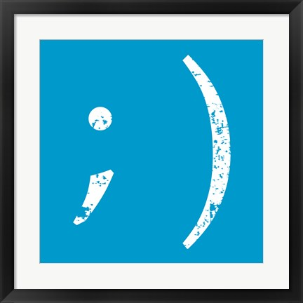 Framed Blue Wink Smiley Print