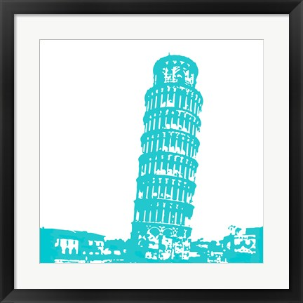Framed Pisa in Aqua Print