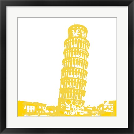 Framed Pisa in Yellow Print
