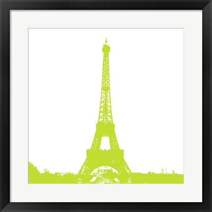 Framed Lime Eiffel Tower Print