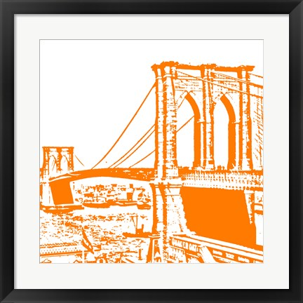Framed Orange Brooklyn Bridge Print