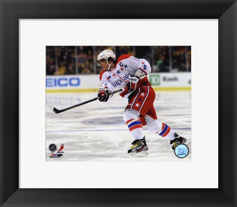 Framed Alex Ovechkin On The Hockey Ice Print