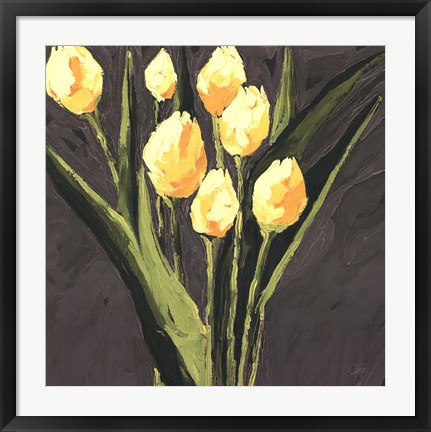 Framed Yellow Tulips On Gray Square Print