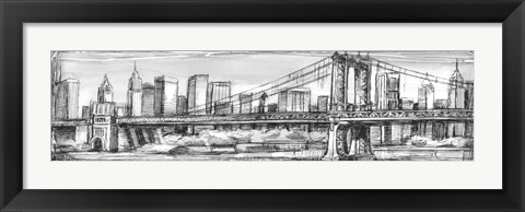 Framed Pen & Ink Cityscape I Print