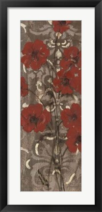 Framed Poppies on Damask I Print