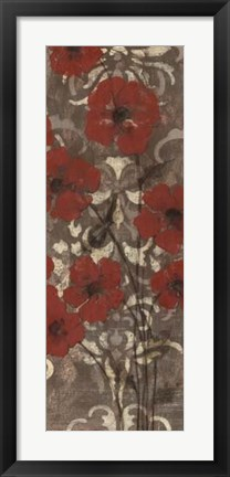 Framed Poppies on Damask II Print