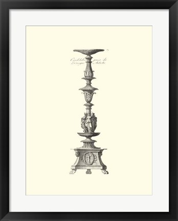 Framed B&W Antique Candlestick I Print