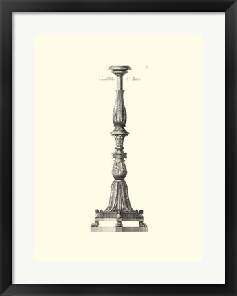Framed B&W Antique Candlestick II Print