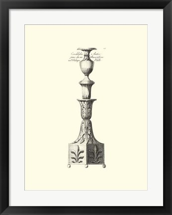 Framed B&W Antique Candlestick III Print