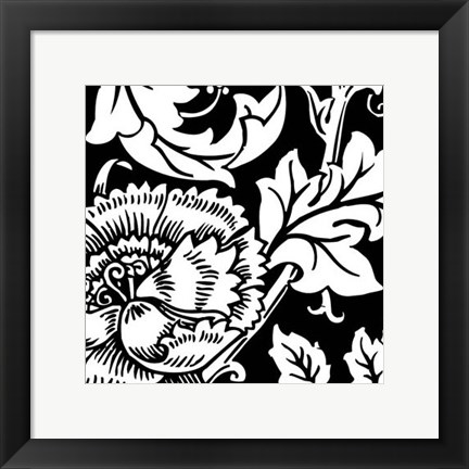 Framed B&W Graphic Floral Motif III Print