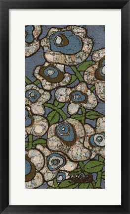 Framed Blue Batik Flowers II Print